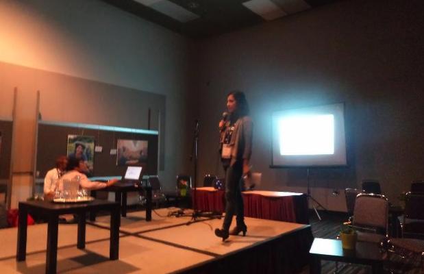 """Participating as a panelist on """"Youth Leadership in Climate Justice"""" // Participando como una panelista en el """"Liderazgo juvenil para la Justicia Climática"""" - Picture by Andrea Arzaba"""
