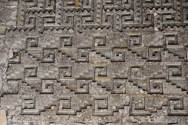 Mitla, one of the most important archeological sites of the Zapotec culture. I was amazed by the geometric patterns, grecas in Spanish, seen all over the stone walls! It is astonishing how they were made from thousands of cut, polished stones